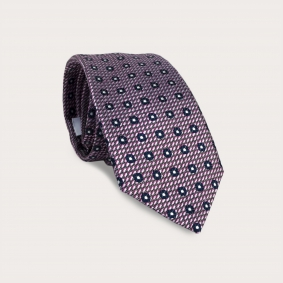 BRUCLE Silk tie, pink and blue pattern