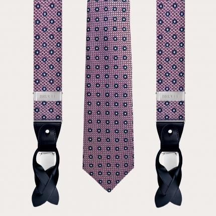 Bretelles et cravate en soie, bleu clair avec Bulldog français