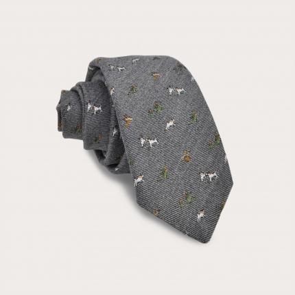 Cravatta in seta e lana, grigia con cani e falchi ricamati