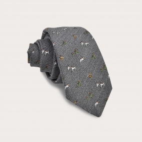 Silk and wool tie, gray with embroidered dogs and hawks