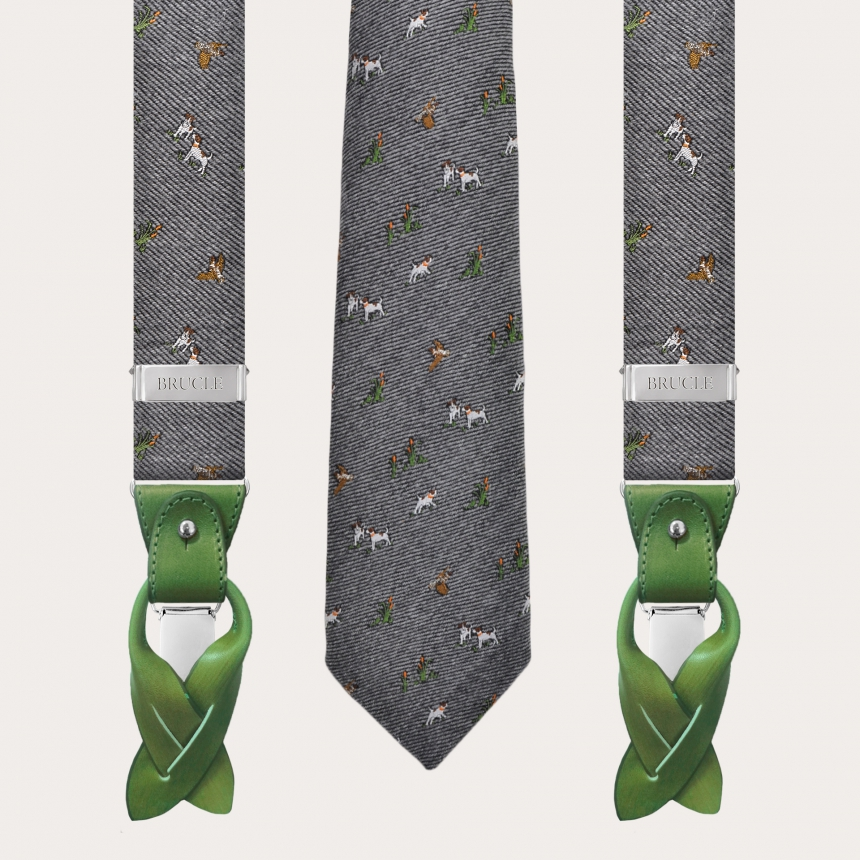 Coordinated braces and tie in wool and silk, gray pattern with dogs and hawks