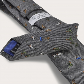 BRUCLE Silk and wool tie, gray with embroidered dogs and hawks