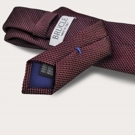 Cravate en soie jacquard, pois rouge