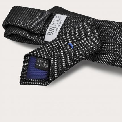BRUCLE Cravate en soie jacquard, pois gris
