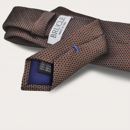 BRUCLE Jacquard silk tie, dark orange dotted