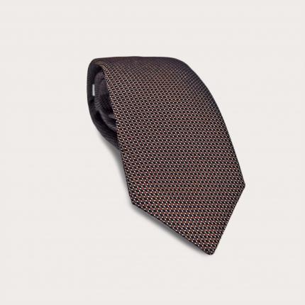 BRUCLE Cravatta in seta jacquard, puntaspillo arancione scuro