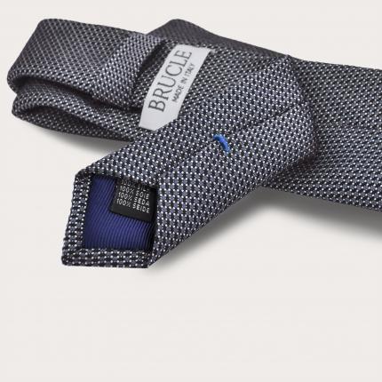 BRUCLE Cravate en soie jacquard, pois smoky blue