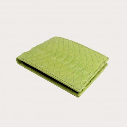 Portafoglio uomo in vero pitone, verde chiaro