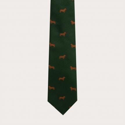 Cravate en soie jacquard, motif teckels vert
