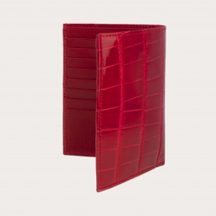 Rot krokodilleder brieftasche, senkrecht