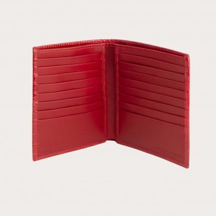 Portafoglio portadocumenti verticale di coccodrillo, rosso
