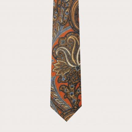Cravate en laine, motif cachemire orange et bleu