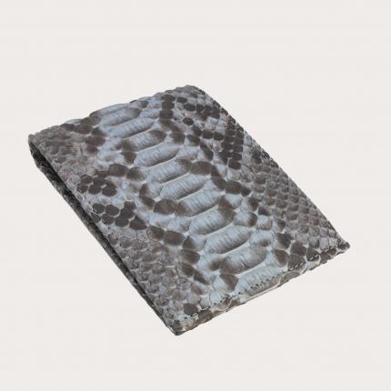 Portefeuille homme en cuir de python, couleur gris dusty blue