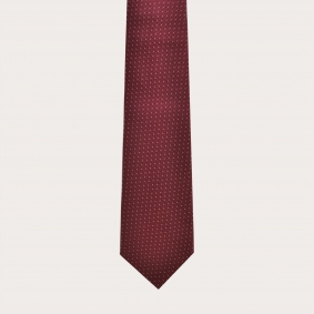 Jacquard silk tie, burgundy dotted pattern Materials-Silk Color-Bordeaux