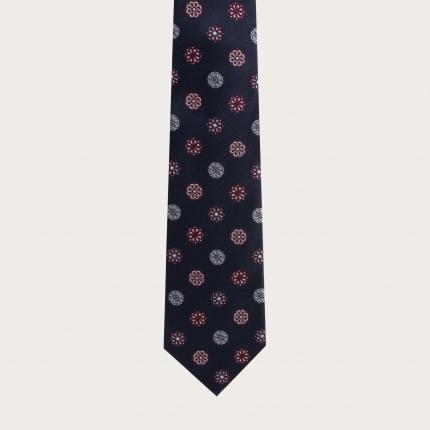 Cravate en soie jacquard, motif blanc et bleu