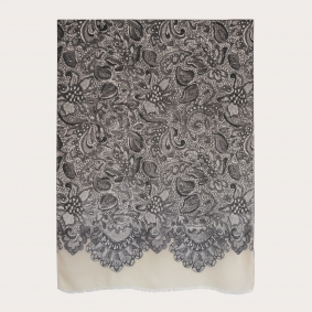Soft modal and cashmere foulard, cream color with black and white decorations