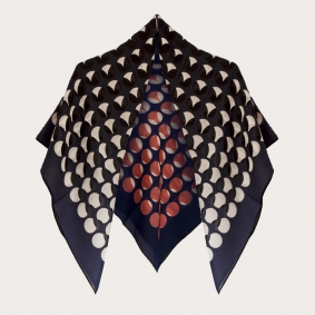 Delicate woolen scarf with geometric pattern, blue with circles