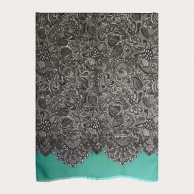 Soft modal and cashmere foulard, mint with black and white decorations