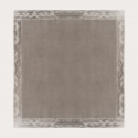 Large cachemire scarf with faded pattern frame, gray