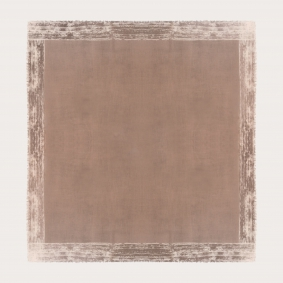 Large cachemire scarf with faded pattern frame, beige
