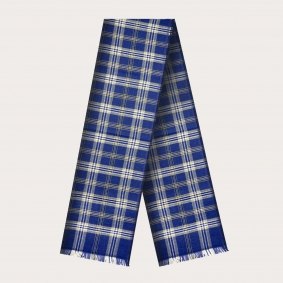 Woolen scarf with tartan pattern, blue and white