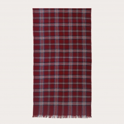 Woolen scarf with tartan pattern, burgundy, blue and white
