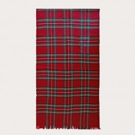 Virgin wool scarf with tartan motif, red