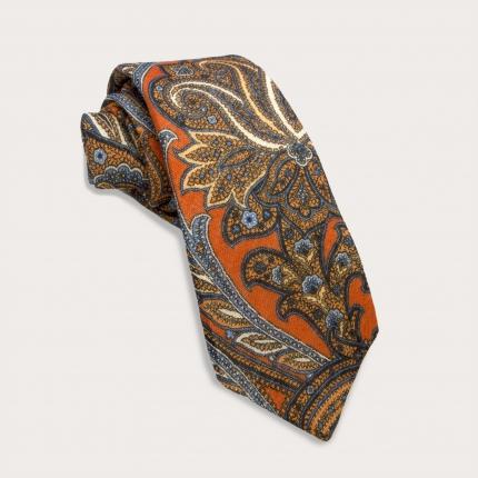 Krawatte aus Wolle, orange und blaues Paisley-Muster