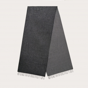 Warm cashmere scarf with fringes, black and gray