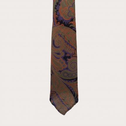 Woolen unlined necktie, orange and purple paisley pattern