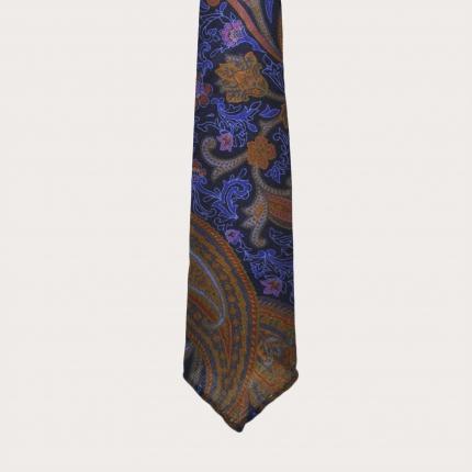 Cravatta sfoderata in lana, fantasia paisley multicolore
