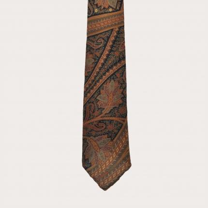 Cravate sans doublure en laine, motif cachemire brun