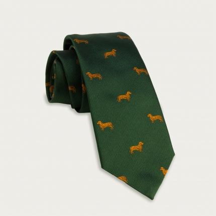 Jacquard silk tie, green dachshunds pattern
