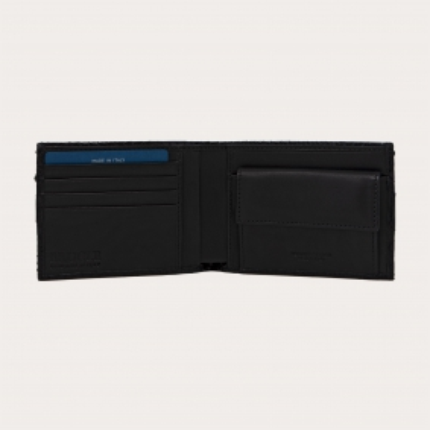 Genuine python bifold wallet with coin purse, black