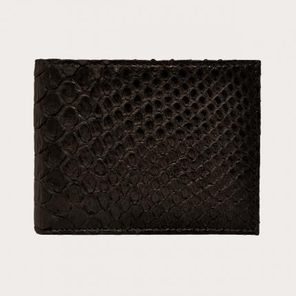 Genuine python bifold wallet with coin purse, dark brown