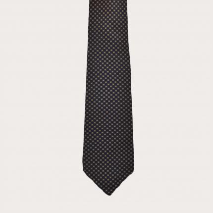 Cravatta sfoderata in seta, fantasia blu e oro