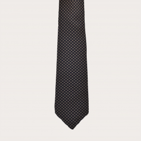 Unlined necktie in silk, blue and gold pattern