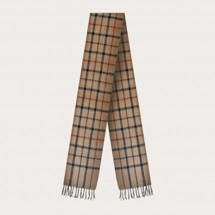 Camel scarf with tartan motif, classic beige