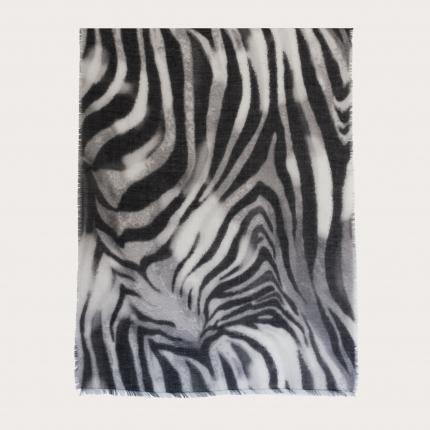 Light cashmere foulard, black and white zebra pattern