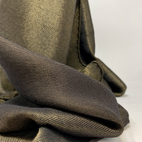 Shiny cashmere scarf, black with gold inserts