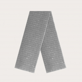Warm cashmere scarf with thin stripe and sequin pattern, gray
