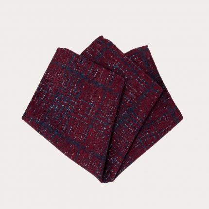 Pochette uomo in seta e lana, fantasia tartan rossa e blu