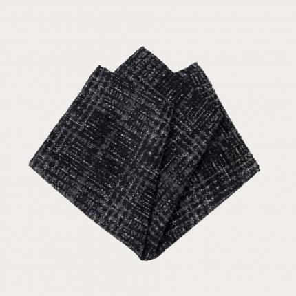 Pochette uomo in seta e lana, fantasia tartan grigia e blu