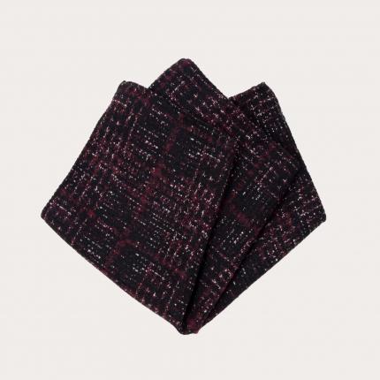 Pochette uomo in seta e lana, fantasia tartan rossa