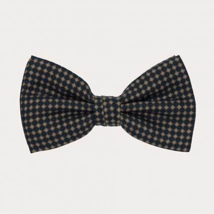 Silk Pre-tied Bow tie, black beige micro-pattern