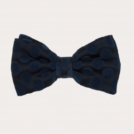 Papillon in seta, nero con macro pois blu