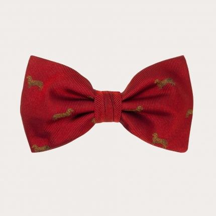 noeud papillon rouge en soie avec teckel