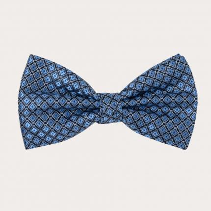 Noeud papillon pre noué, bleu clair avec motif de carrés