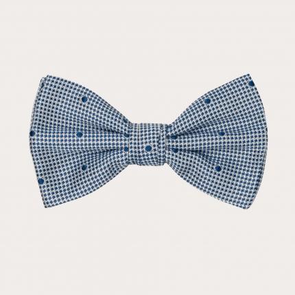 Silk pre-tied bow tie, blue dot and pied de poule