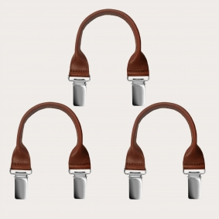 Set baffi in cuoio con clip 3 pz., marrone